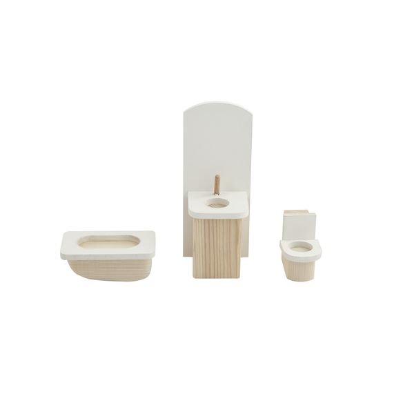 Купить PAREMO Набор мебели для мини-кукол – Ванная комната [PDA517-01], 18 x 9 x 8 см, Дерево, Мебель для кукол