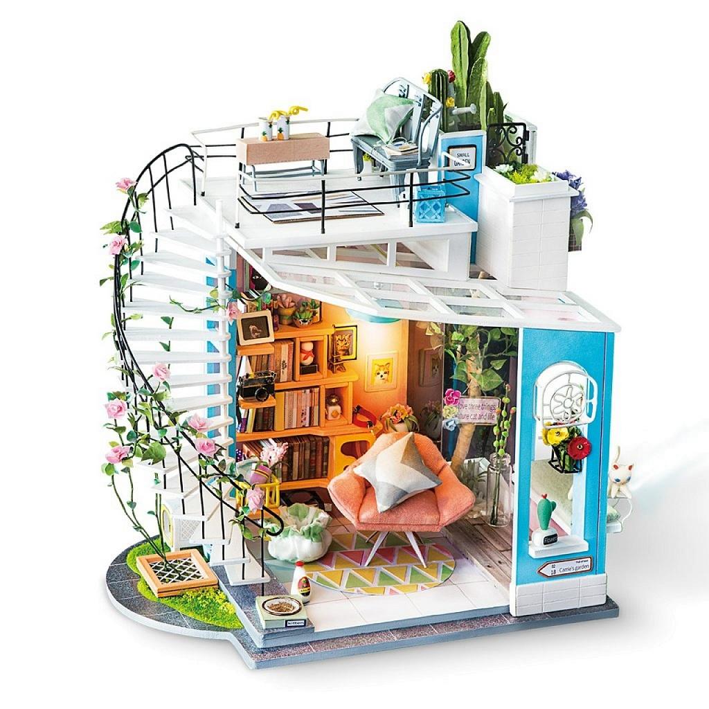Купить Румбокс DIY HOUSE DG12 Loft, пластмасса, Дерево, Бумага, Картон, Металл, Текстиль, батарейки, Сборные игрушечные модели