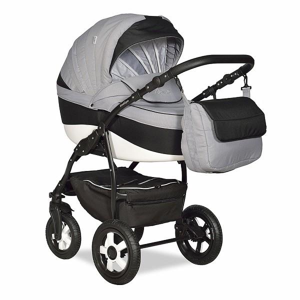 Купить INDIGO Коляска 2-в-1 Indigo Camila 18 (цвет: светло-серый/черный) [УТ0008430], Черный, серый, пластик, Металл, Текстиль, Детские коляски