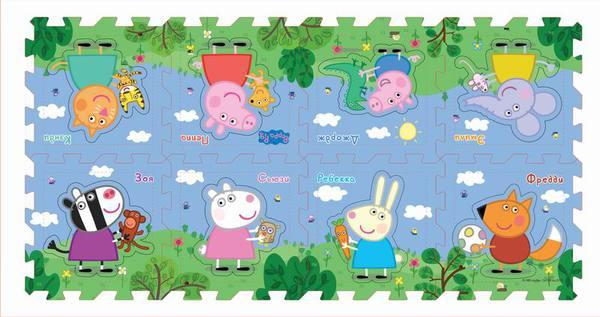 Купить РОСМЭН-ЛИГА Коврик-пазл Peppa Pig Пеппа и друзья , 8 сегментов [30130], EVA, Россия, Развивающие коврики для малышей