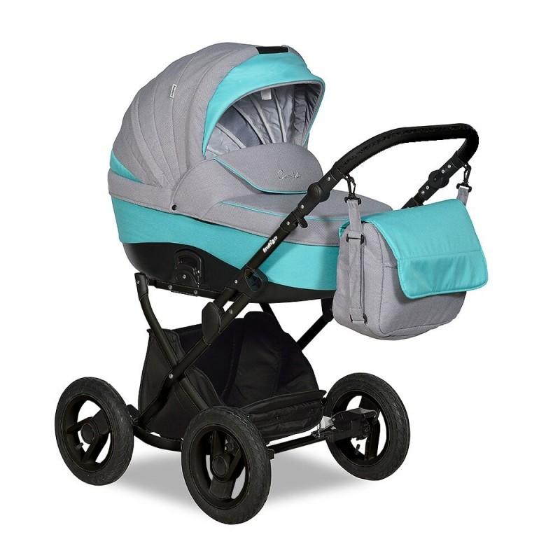 Купить INDIGO Коляска 2-в-1 Indigo Camila 18 Classic 12 (цвет: серый/бирюзовый) [УТ0008448], Бирюзовый, серый, пластик, Металл, Текстиль, Детские коляски