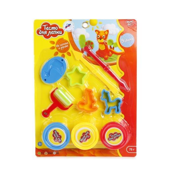 Купить MULTIART Набор для лепки из теста, 3 цвета [B649464-PD], тесто, пластик., Для мальчиков и девочек, Россия, Пластилин и масса для лепки