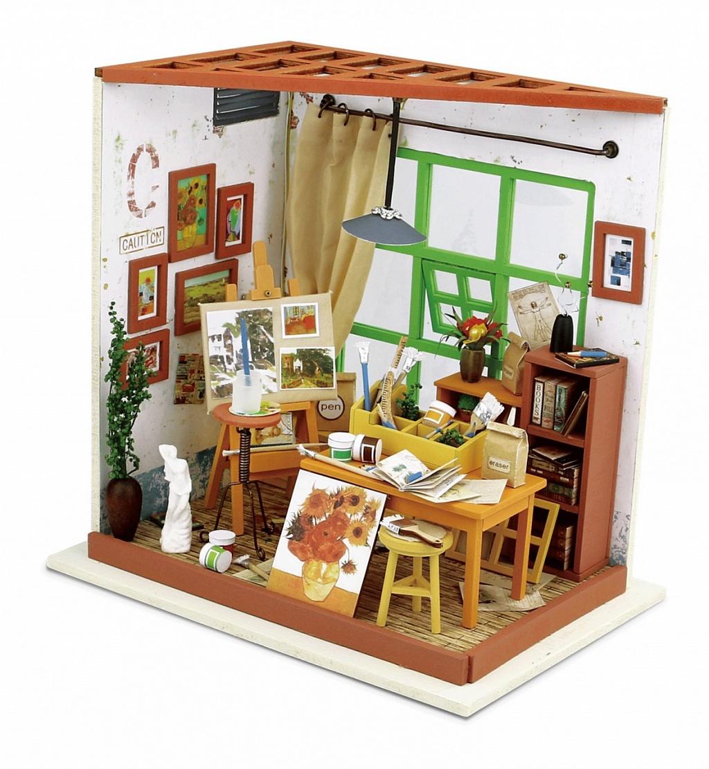 Купить Румбокс DIY HOUSE DG103 Художественная мастерская, пластмасса, Дерево, Бумага, Картон, Металл, Текстиль, батарейки, Сборные игрушечные модели