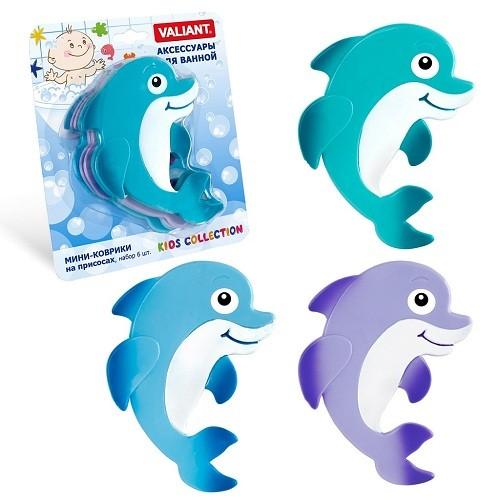 Купить VALIANT Набор мини-ковриков Дельфинёнок , 6 штук [K6-3888], PVC, Детские игрушки для ванной