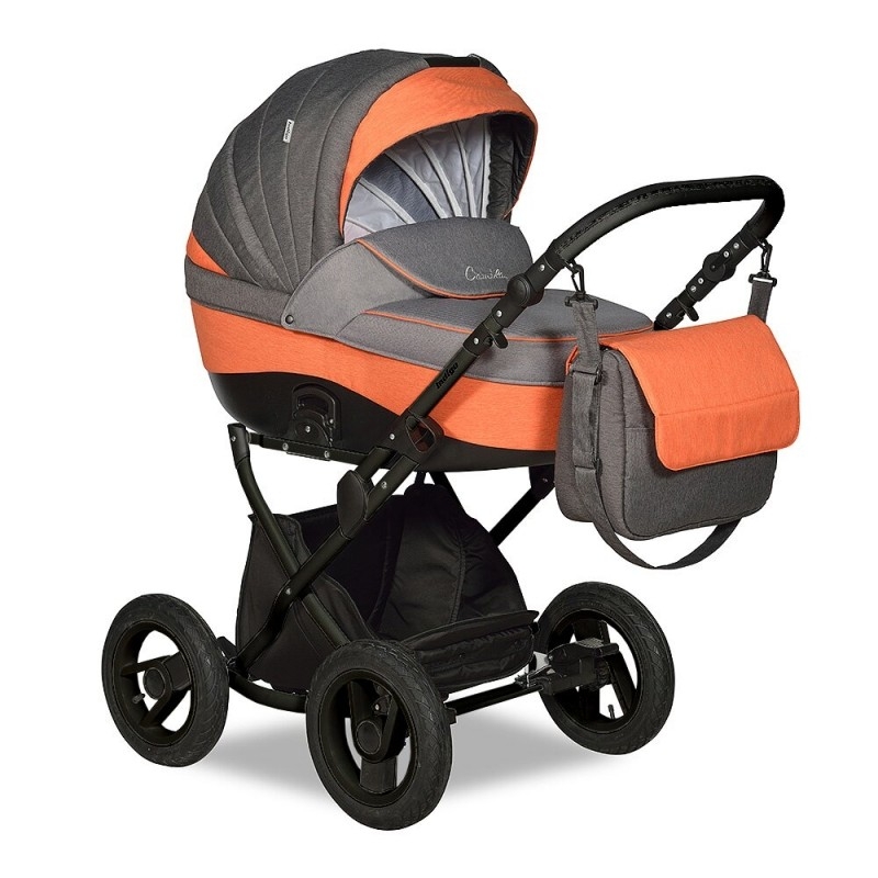 Купить INDIGO Коляска 2-в-1 Indigo Camila 18 Classic 12 (цвет: серый/оранжевый) [УТ0008453], серый, оранжевый, пластик, Металл, Текстиль, Детские коляски