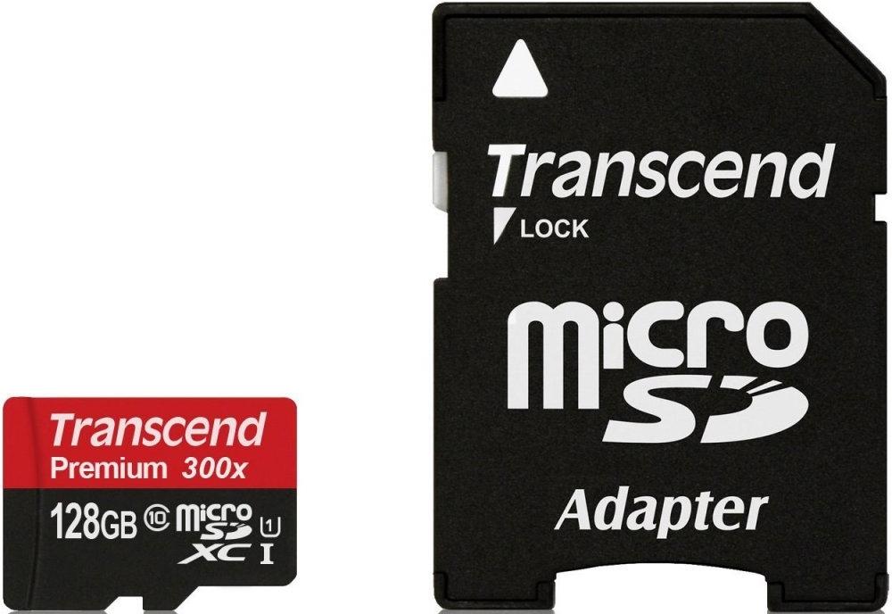 Карта памяти 128Gb MicroSD Transcend Class 10 + adapter (TS128GUSDU1)