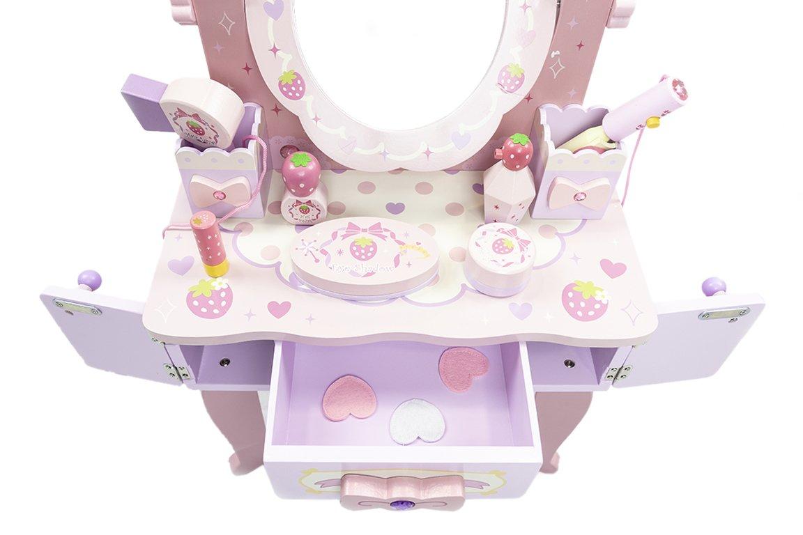 Картинка - Туалетный столик с зеркалом и стульчиком iQween BC-118 для девочки
