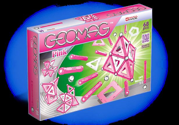 Купить Магнитный конструктор GEOMAG 342 Pink 68 деталей, Пластик, металл, магнит, Для мальчиков и девочек, Швейцария, Конструкторы