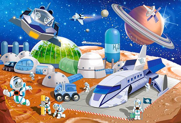 Купить КАСТОР Пазл Космическая станция , 40 элементов [В-040230], Картон, Польша, Пазлы