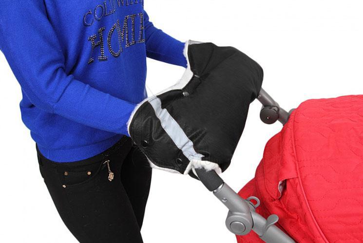 Купить 12360509, ГЕРАСИМОВА Муфта для рук на ручку коляски (30%шерсть)+СВЕТООТРАЖАТЕЛЬ ЭКО Кожа, [253 чёрный кожа], Герасимова, Аксессуары для колясок и автокресел