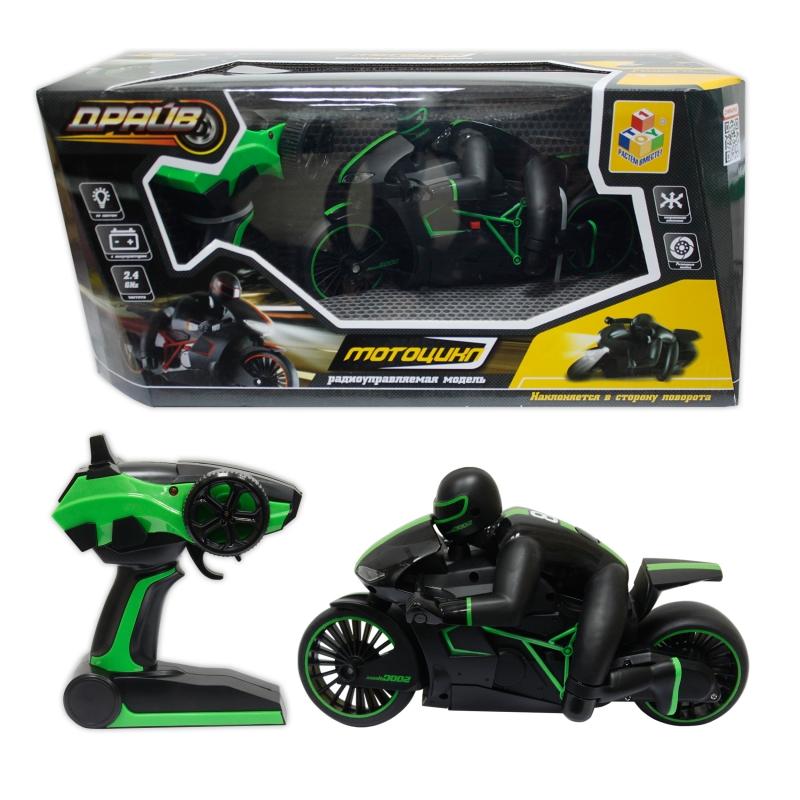 Купить Мотоцикл с гонщиком на р/у 1 TOY Драйв, , Аккум. 6V, зеленый [Т10954], Для мальчиков, Игрушки на радиоуправлении