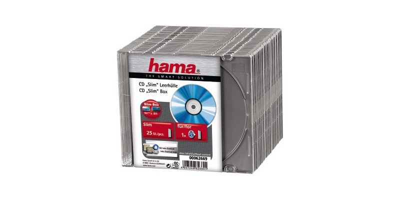 Коробка для CD Hama Slim Silver 62669