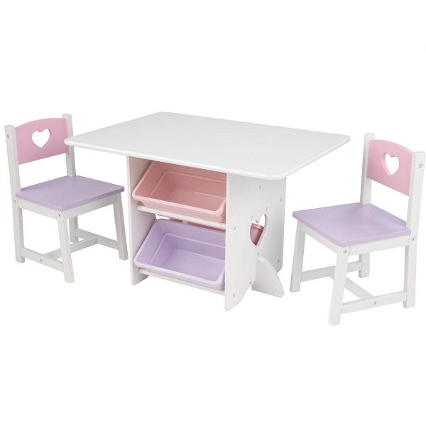 Купить KIDKRAFT Набор детской мебели Heart (стол+2 стула+4 ящика) [26913_KE], Комплекты мебели для детских комнат