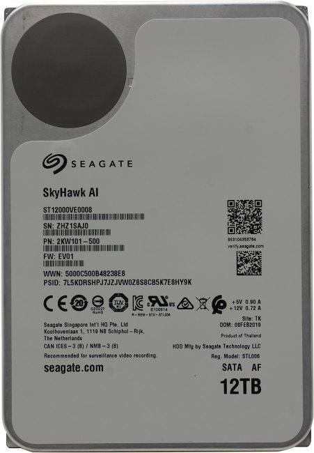 Жесткий диск 12 Тб Seagate SkyHawk AI Surveilance (ST12000VE0008) 3.5