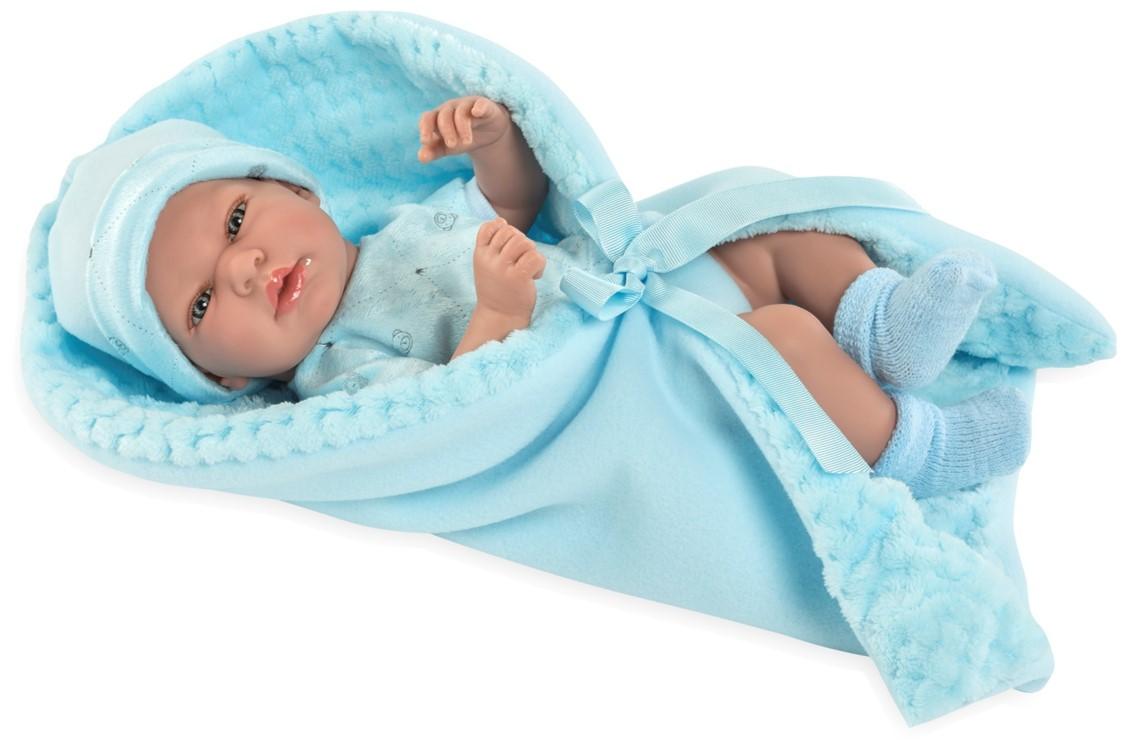 Купить MUNECAS ARIAS Пупс ARIAS Elegance с голубым одеялком, с соской, 38 см, [Т13729], 480 x 260 x 170 мм, Текстиль, винил, Куклы и пупсы