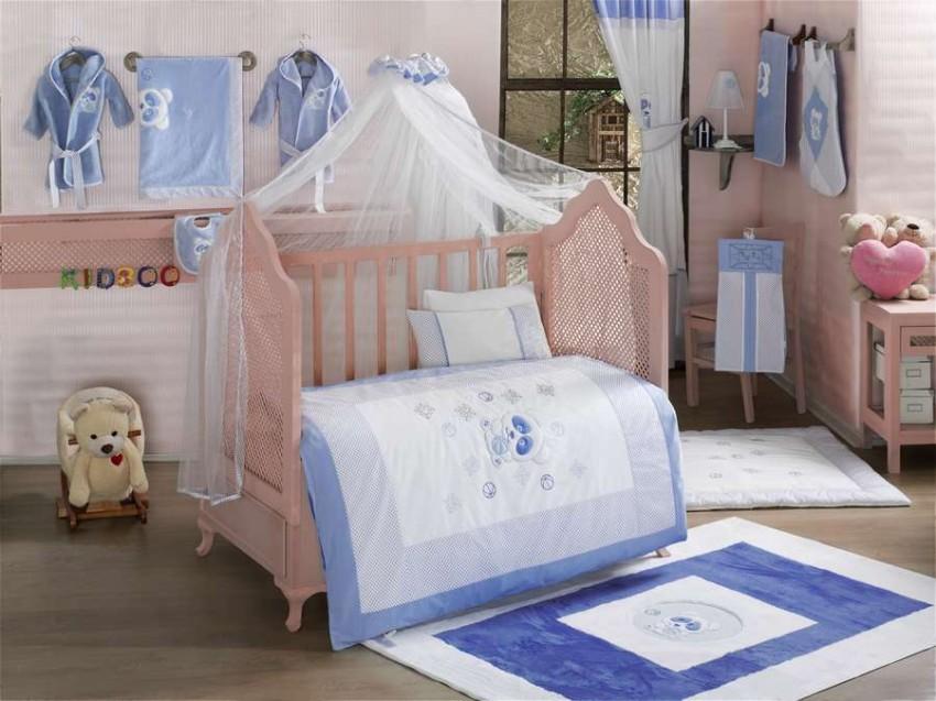 Купить KIDBOO Комплект постельного белья Panda (3 предмета) [00-0012153], белый, синий, Хлопок, Для мальчиков и девочек, Постельное белье для малышей