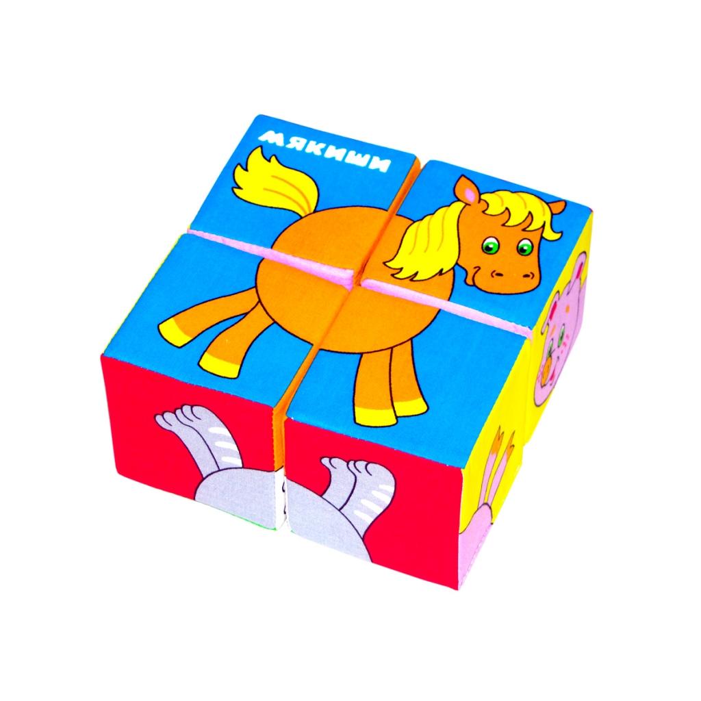 Купить Кубики МЯКИШИ 236 Собери картинку Животные, 100% х/б ткань, поролон, Для мальчиков и девочек, Россия, Кубики для малышей