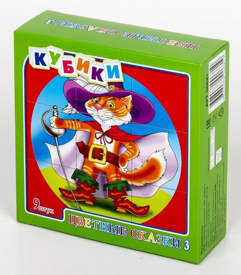 Купить ДЕСЯТОЕ КОРОЛЕВСТВО Кубики Цветные сказки-3 , 9 штук (без обклейки) [681], Десятое королевство, Кубики для малышей
