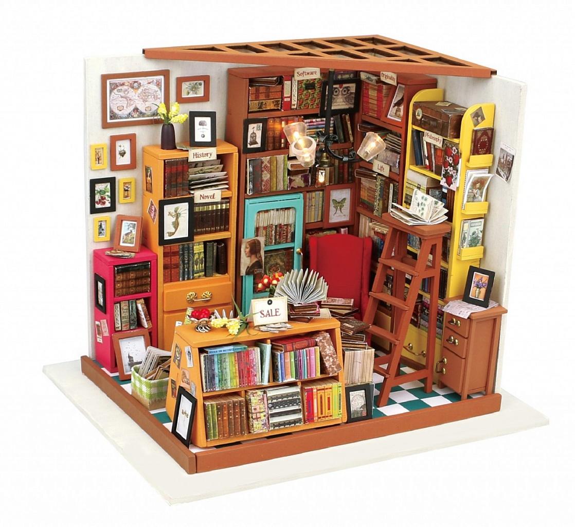 Купить Румбокс DIY HOUSE DG102 Библиотека, пластмасса, Дерево, Бумага, Картон, Металл, Текстиль, батарейки, Сборные игрушечные модели