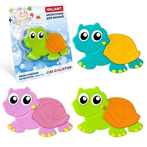 Купить VALIANT Набор мини-ковриков Черепашонок , 6 штук [K6-3883], PVC, Детские игрушки для ванной