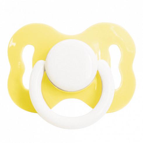 Купить LUBBY Пустышка детская латексная Ретро , с 0 месяцев, скошенный сосок, кольцо, цвет желтый [LUB_15617/24], Желтый, полипропилен, латекс, Швейцария, Пустышки и аксессуары