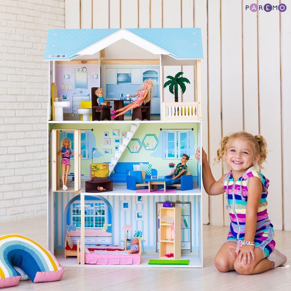 Купить PAREMO Кукольный домик Лацио (с мебелью) [PD318-16], 76 x 33 x 119 см, Дерево, МДФ, Кукольные домики