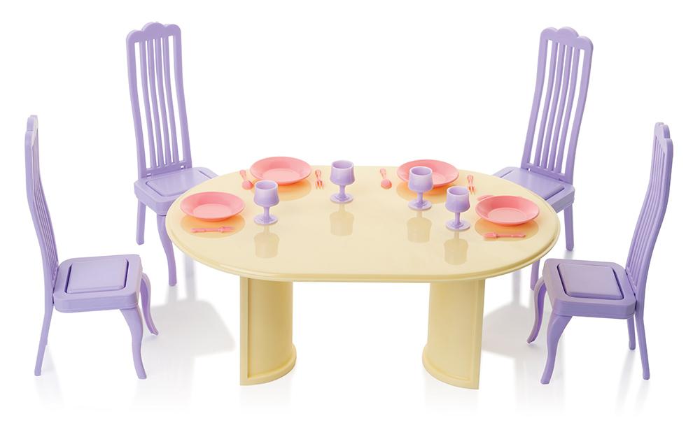 Купить С-1435 фиолетовый, ОГОНЁК Столовая Маленкая принцесса (С-1435) фиолетовые стулья, Огонек, пластмасса, Россия, Мебель для кукол