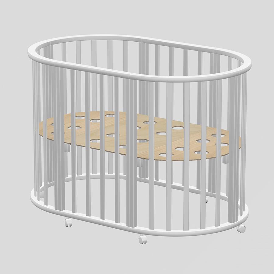 Купить ВЕДРУС Кровать детская ОЛИВИЯ NEW овальная 3в1 Место 1 Белая [VD4402101], Россия, Кроватки детские