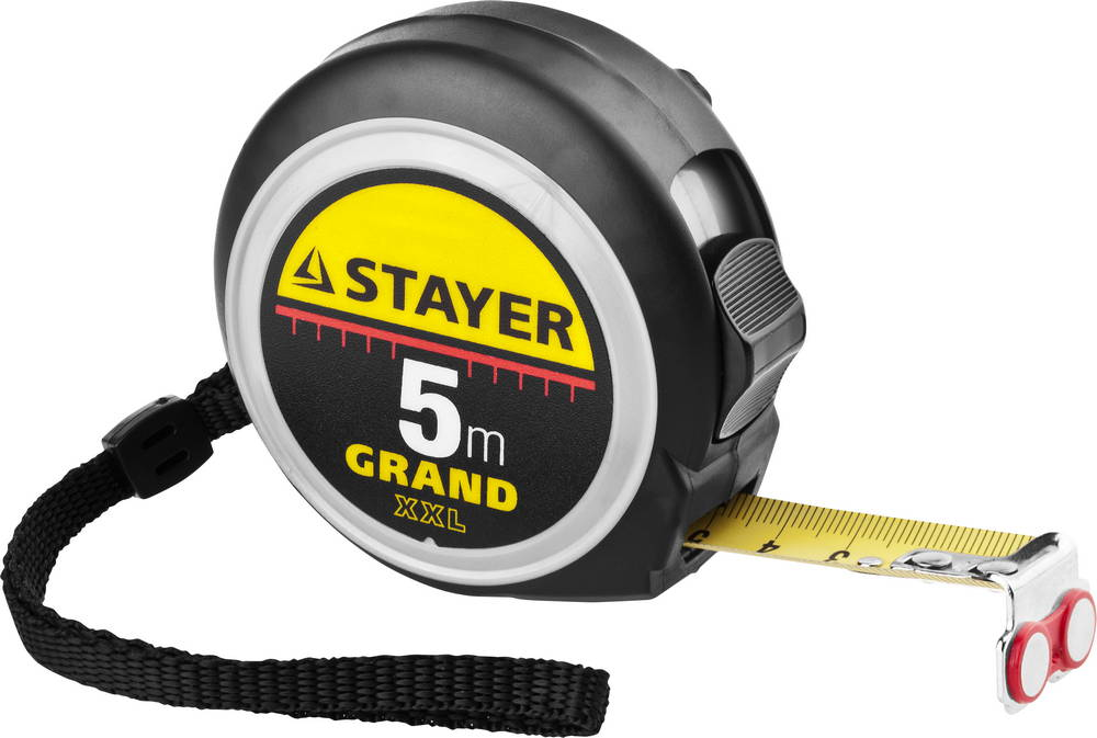 EXPERT Рулетка STAYER GRAND, корпус с противоскользящим напылением, упрочненное полотно, 5м/19мм 3411-05-19