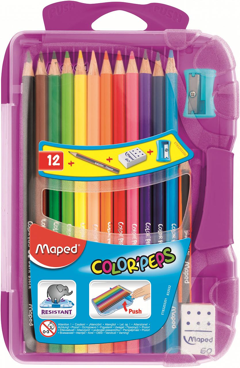Купить Карандаши MAPED 832032 COLOR'PEPS 12 цветов+точилка+ластик+мини-карандаш, Для мальчиков и девочек, Китай, Детские товары