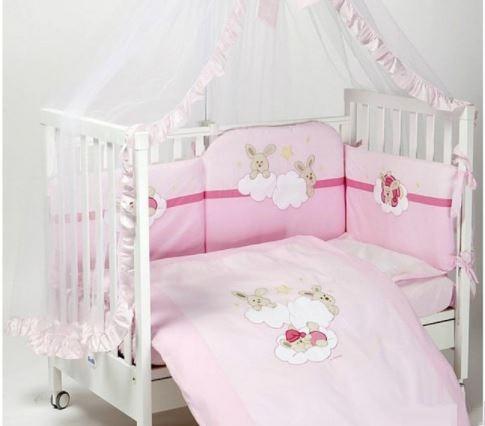 Купить FERETTI Комплект для кроватки Rabbit Long (цвет: розовый, 6 предметов) [00-0014005], 100% полиэстер/ 100% хлопок, Для девочек, Постельное белье для малышей