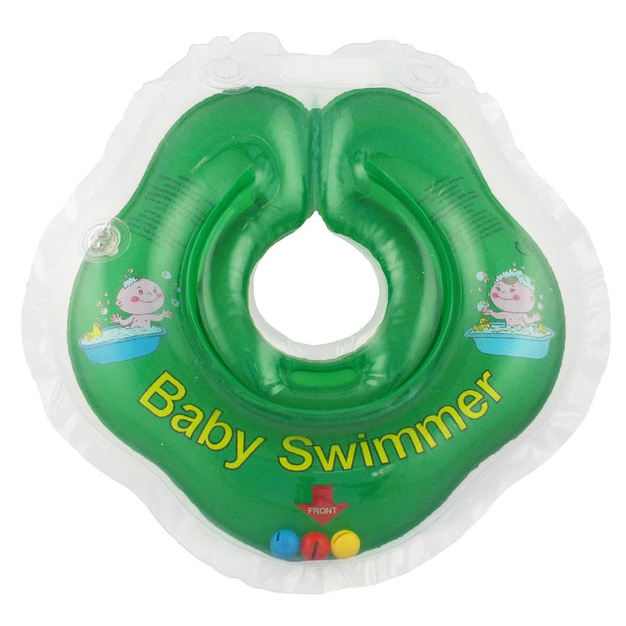 Купить BABY SWIMMER Круг для купания ( 3-12кг) Зеленый Полуцвет+внутри погремушка [BS02G-B], Китай, Погремушки и прорезыватели