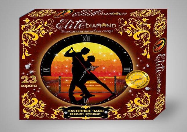 Купить ЛАПЛАНДИЯ Набор для создания настенных часов Elite Diamond Пара на закате , 32х32х4 см [45771L], Пластик, металл, Россия, Детские товары