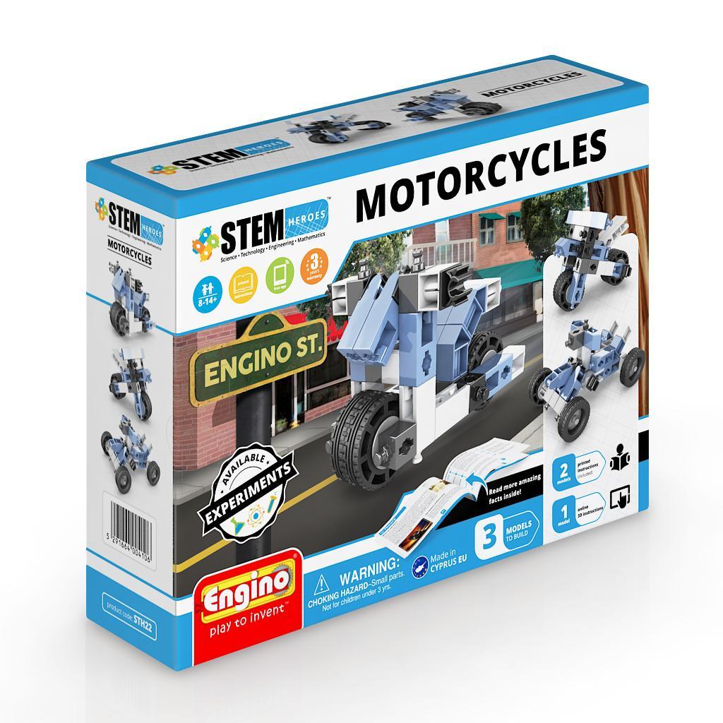 Купить Конструктор ENGINO STH22 STEM Heroes. Набор из 3 моделей. Мотоциклы, пластик, Конструкторы
