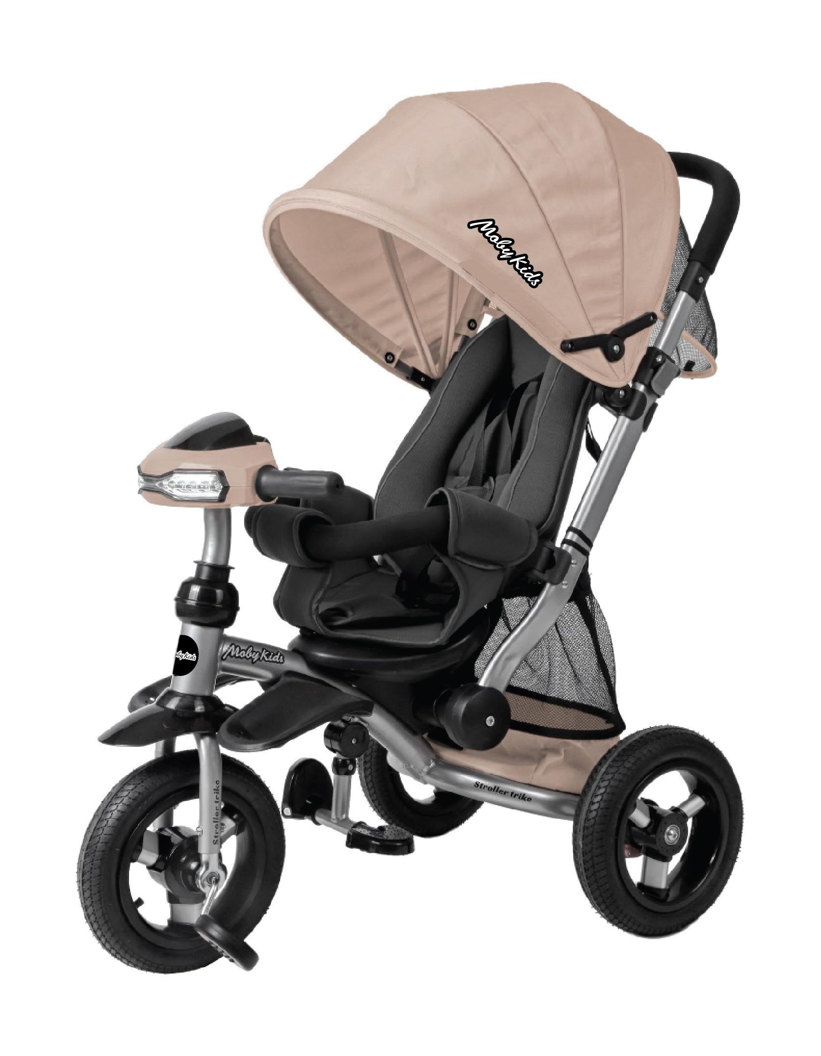 Купить Велосипед-коляска трехколесный Stroller trike AIR Car [641214], Moby kids, Бежевый, пластик, Резина, Металл, полипропилен, Велосипеды для взрослых и детей