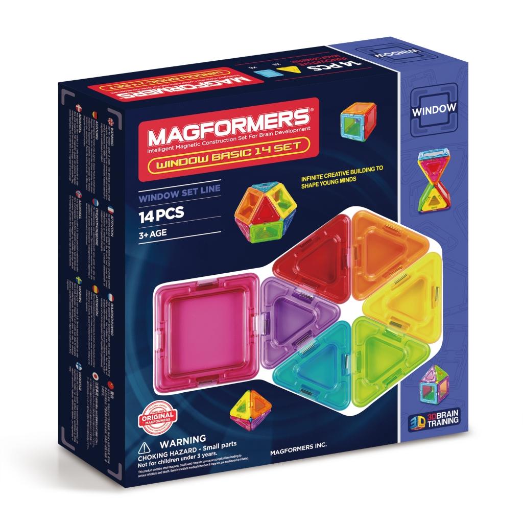 Купить Магнитный конструктор MAGFORMERS 714001 Window Basic 14 set, пластик, магнит, Для мальчиков и девочек, Китай, Конструкторы