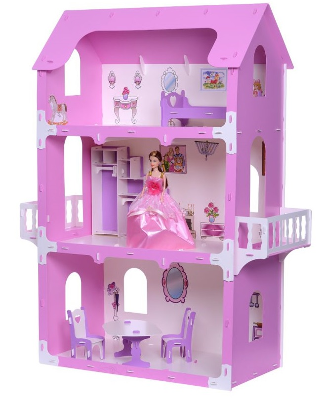 Купить Домик KRASATOYS 000263 для кукол Коттедж Екатерина, Полифом, Для девочек, Россия, Кукольные домики