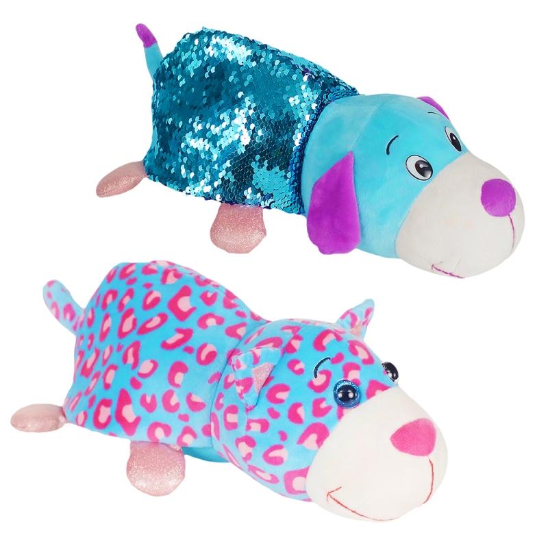 Купить 1TOY Вывернушка БЛЕСК с паетками 30 см Котик-Щенок [Т15589], Мягкие игрушки