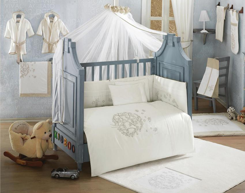 Купить KIDBOO Комплект постельного белья Valentine Saten Vanilla (3 предмета) [00-0012188], белый, Хлопок, Для мальчиков и девочек, Постельное белье для малышей