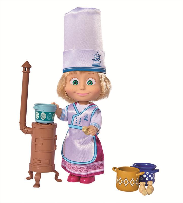 Купить Кукла SIMBA 9301987 Маша в одежде повара, пластик, Текстиль, Для девочек, Китай, Куклы и пупсы