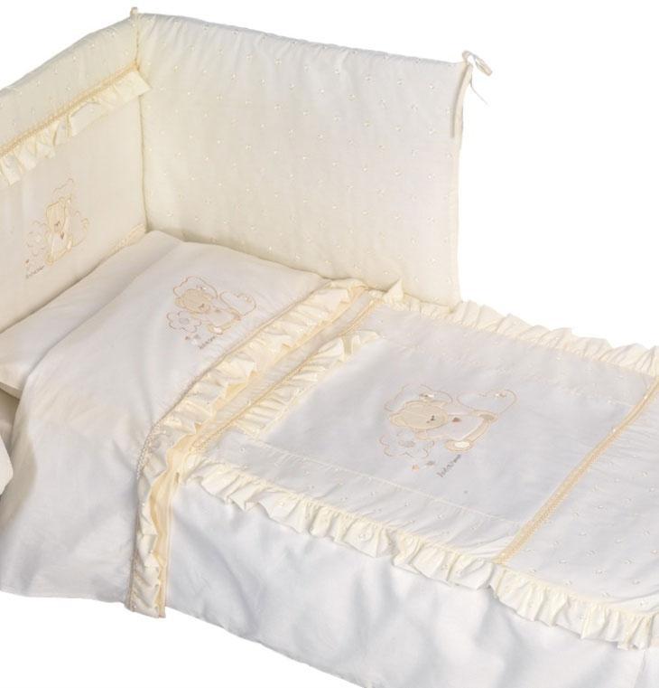 Купить 12355197, ANDY AND HELEN Комплект в кроватку 7 предметов Andy&helen Медвежонок, [E6/06E 7P LB C], Постельное белье для малышей
