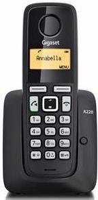 Купить Радиотелефон Gigaset A220 Black, телефон беспроводной (DECT), Черный, Германия