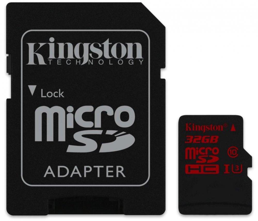 Карта памяти MicroSDHC 32 Гб Kingston Canvas React (SDCR/32GB) Class 10, UHS Class 3, UHS-I, V30, A1