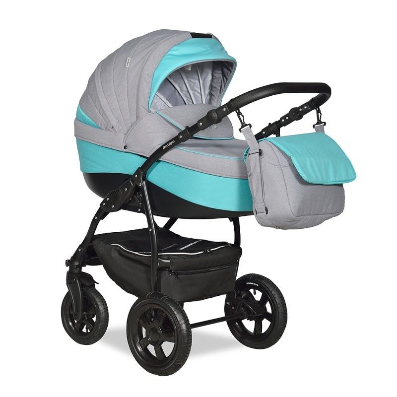 Купить INDIGO Коляска 3-в-1 Indigo Camila 18 F (цвет: серый/бирюзовый) [УТ0008438], Бирюзовый, серый, пластик, Металл, Текстиль, Детские коляски