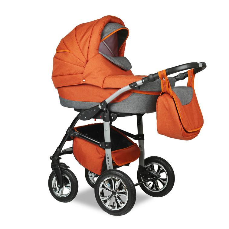 Купить SMILE LINE Коляска 2-в-1 Smile Line Indiana 17 Len (цвет: оранжевый/серый) [УТ0007667], серый, оранжевый, пластик, Металл, Текстиль, Детские коляски