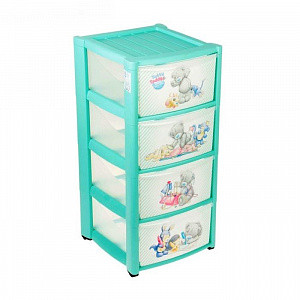 Купить ME TO YOU Комод детский на колесах Me to You (4 ящика) [УТ0008739], Голубой, пластик, Принадлежности для хранения игрушек