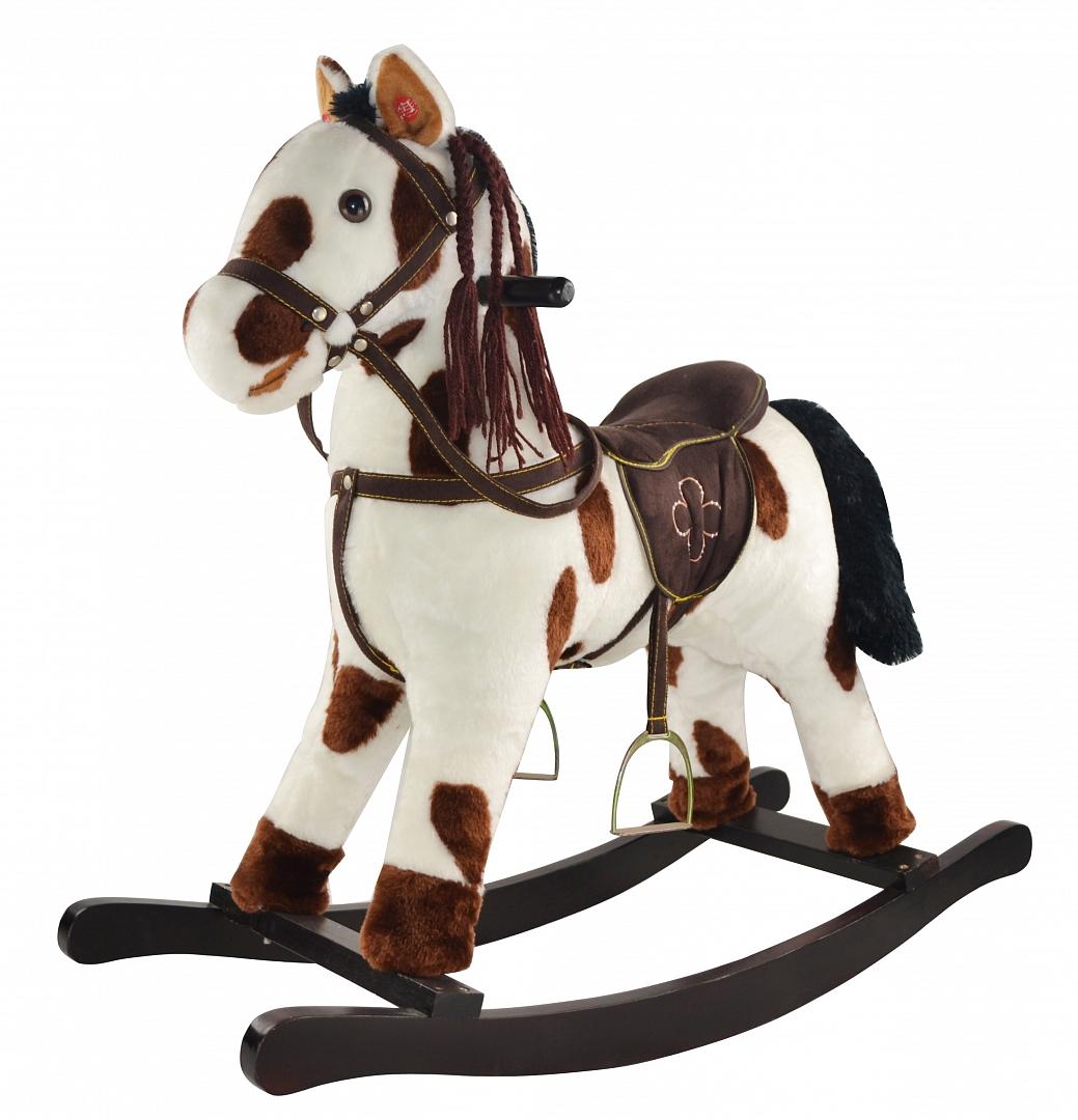 Купить GS2090, PITUSO FANDANGO Качалка-Лошадка мягконаб., муз., Белый с кориневыми пятнами, 74*30*64см, Китай, Каталки и качалки для малышей