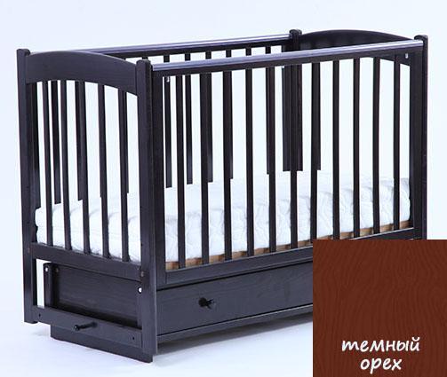 Купить 12360270, КУБАНЬЛЕССТРОЙ Кроватка БИ 39.2 Кубаночка-3 с ящиком, c маятником, темный орех [БИ 39.2], Кроватки детские