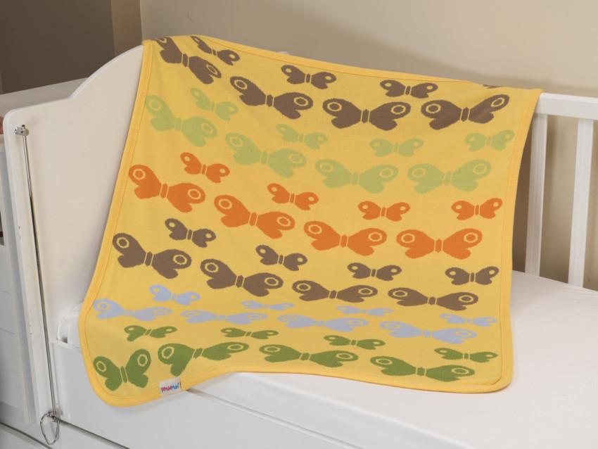 Купить UPS PUPS Плед-покрывало вязаный Бабочки (цвет: желтый) [U14-11-121], Желтый, 100% акрил, Для девочек, Покрывала, подушки, одеяла для малышей