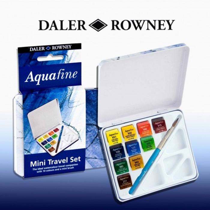 Купить Краски DALER ROWNEY 131900910 Дорожный набор (акварель 10 кювет, кисть и палитра), Металл, Акварель, Детские товары
